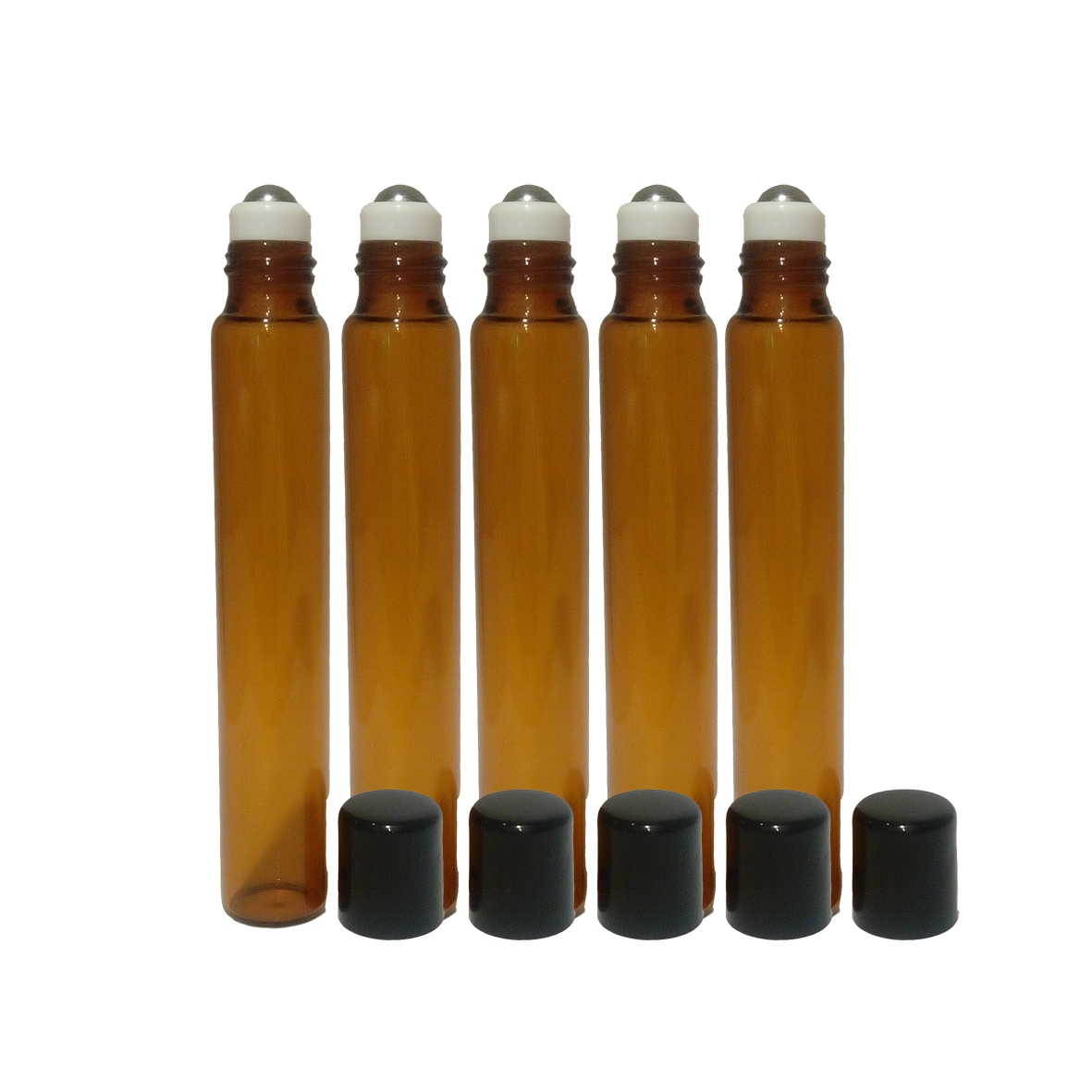 10ml Amber Glass Slim Roll-on Bottle, SS Ball, Black Cap